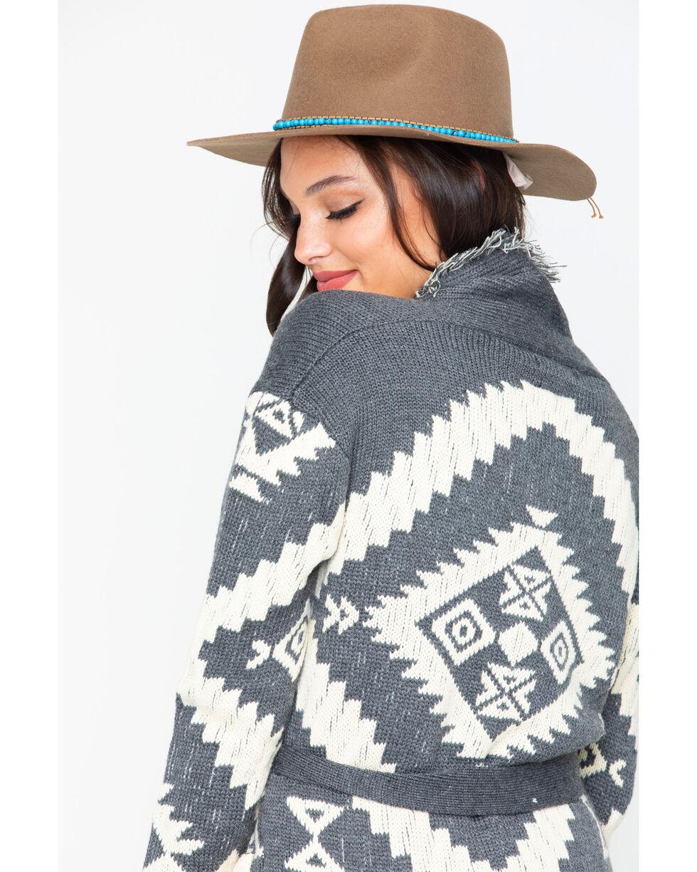 Miss Me Women's Aztec Fringe Cardigan, Charcoal, hi-res