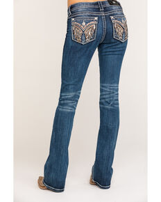 Miss Me Women's Dark Wash Angel Wing Bootcut Jeans, Blue, hi-res