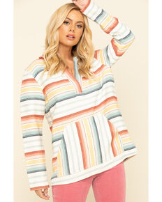 Pendleton Women's Ivory Stripe Hooded Pullover, Ivory, hi-res