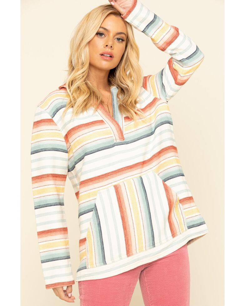 Pendleton Women's Ivory Stripe Hooded Pullover, Ivory, hi-res