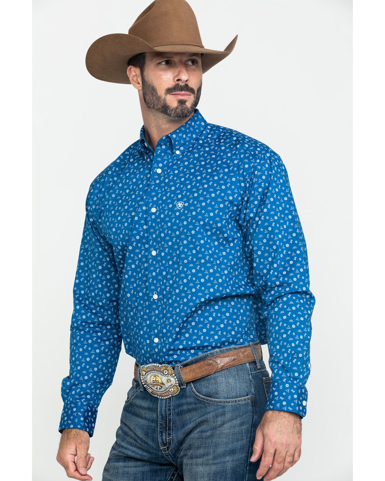 Ariat Men's Gates Conversation Stretch Print Long Sleeve Western Shirt , Blue, hi-res