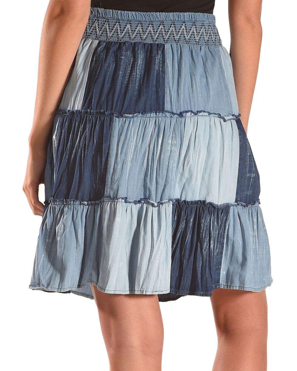 New Direction Sport Women's Denim Patchwork Skirt , Indigo, hi-res