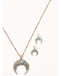 Shyanne Women's Bronze & Turquoise Floral Crescent Jewelry Set, Rust Copper, hi-res