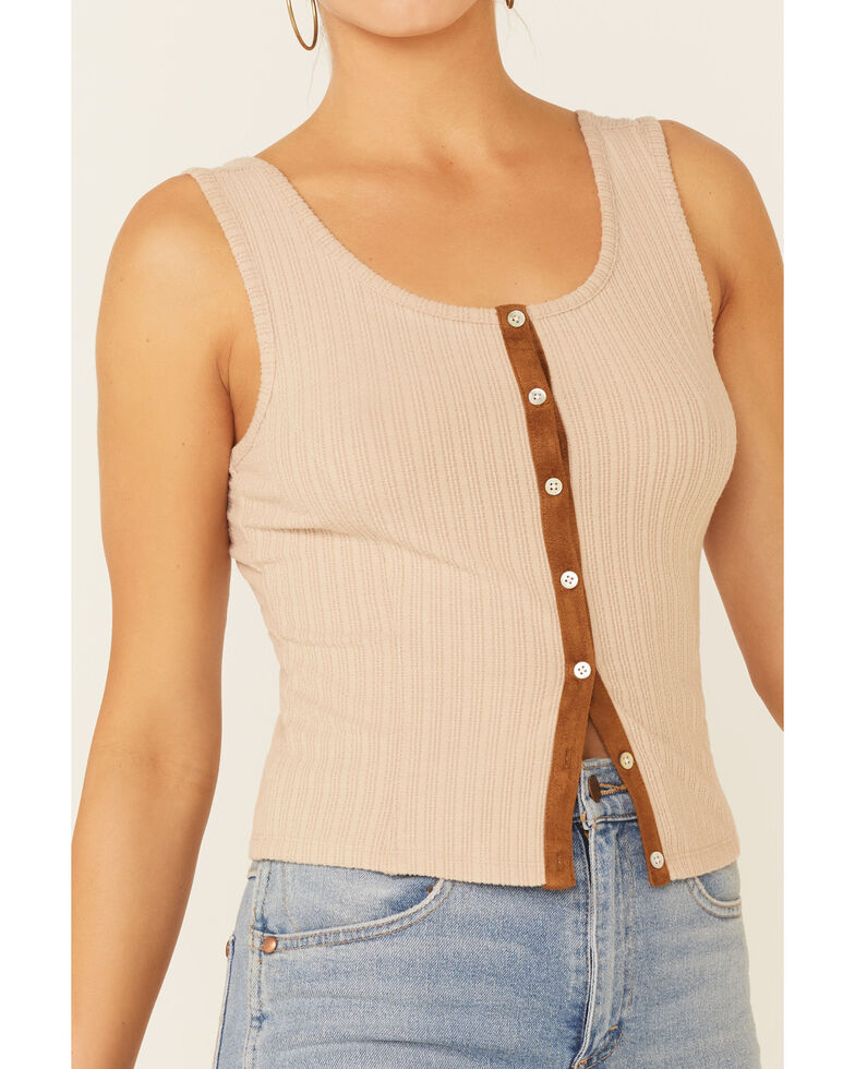Shyanne Women's Off-White Ribbed Suede Placket Button-Down Tank Top , Off White, hi-res