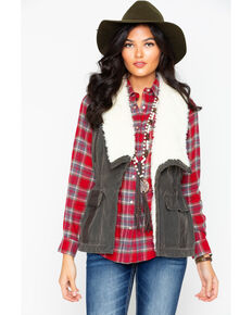 Cripple Creek Women's Open Front Faux Fur Vest  , Dark Green, hi-res