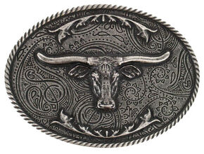 Cody James Men's Etched Longhorn Buckle, Silver, hi-res