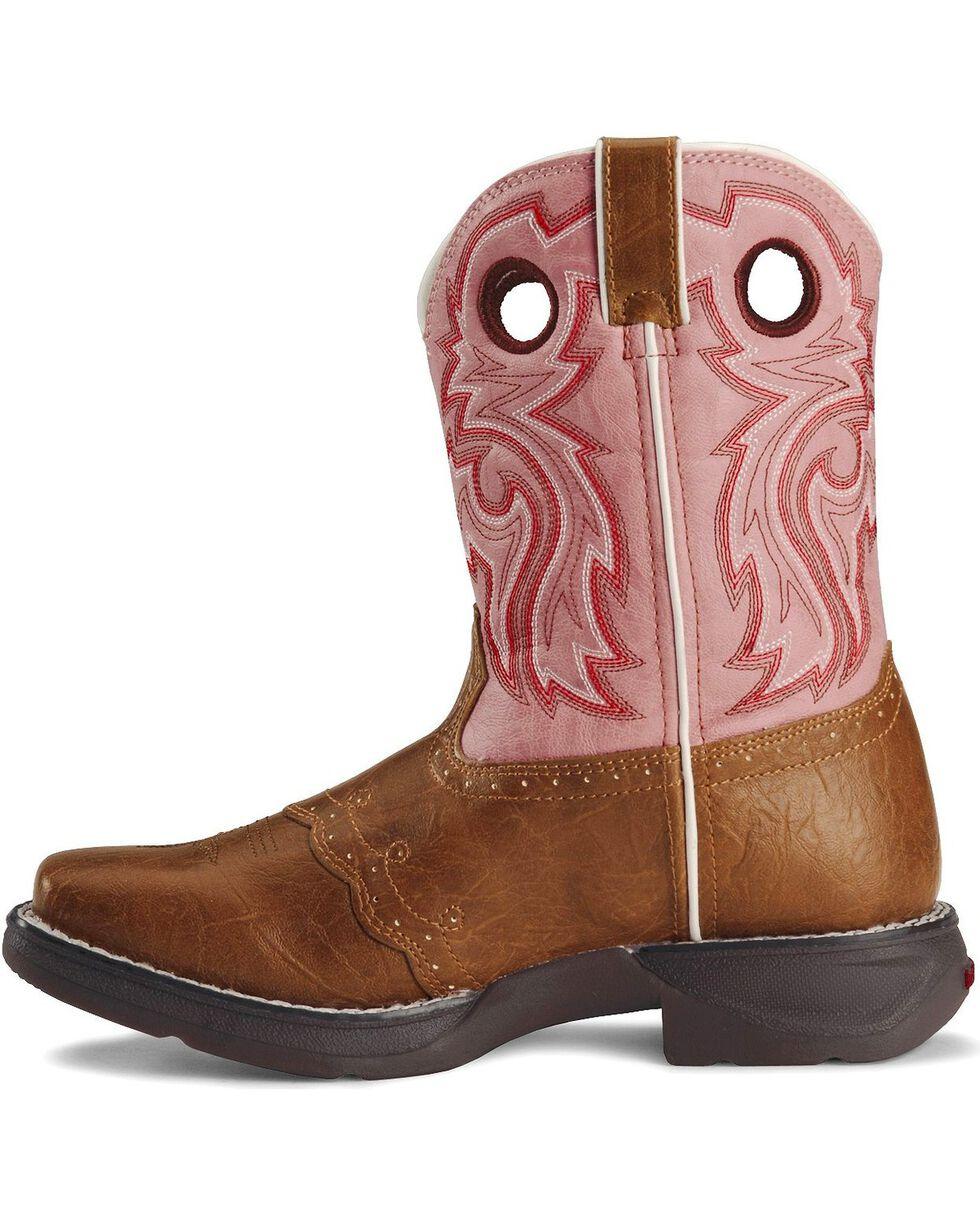 Durango Girls' Pink Cowgirl Boots - Square Toe, Tan, hi-res