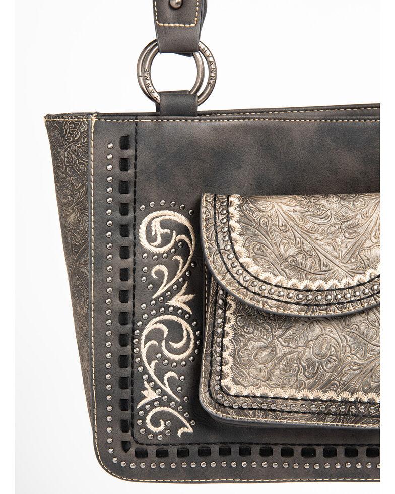 Shyanne Women's Tooled Metallic Pocket Tote, Grey, hi-res