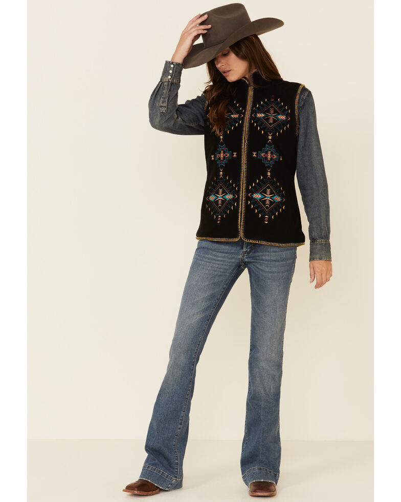 Outback Trading Co. Women's Aviana Aztec Embroidered Vest , Black, hi-res