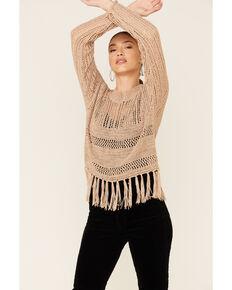 Rock & Roll Denim Women's Open Weave Fringe Sweater, Tan, hi-res