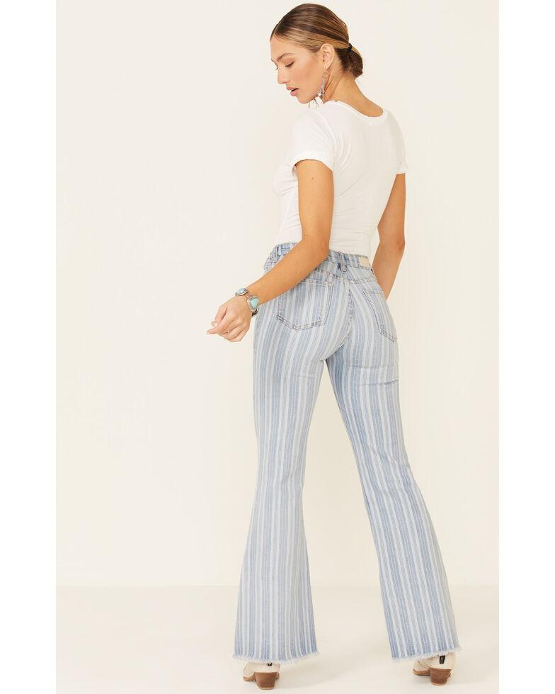 Rock & Roll Denim Women's Light Wash Stripe High-Rise Trouser Jeans, Light Blue, hi-res