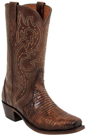 Lucchese Handmade Rust Dwight Lizard Cowboy Boots - Square Toe  , Russet, hi-res