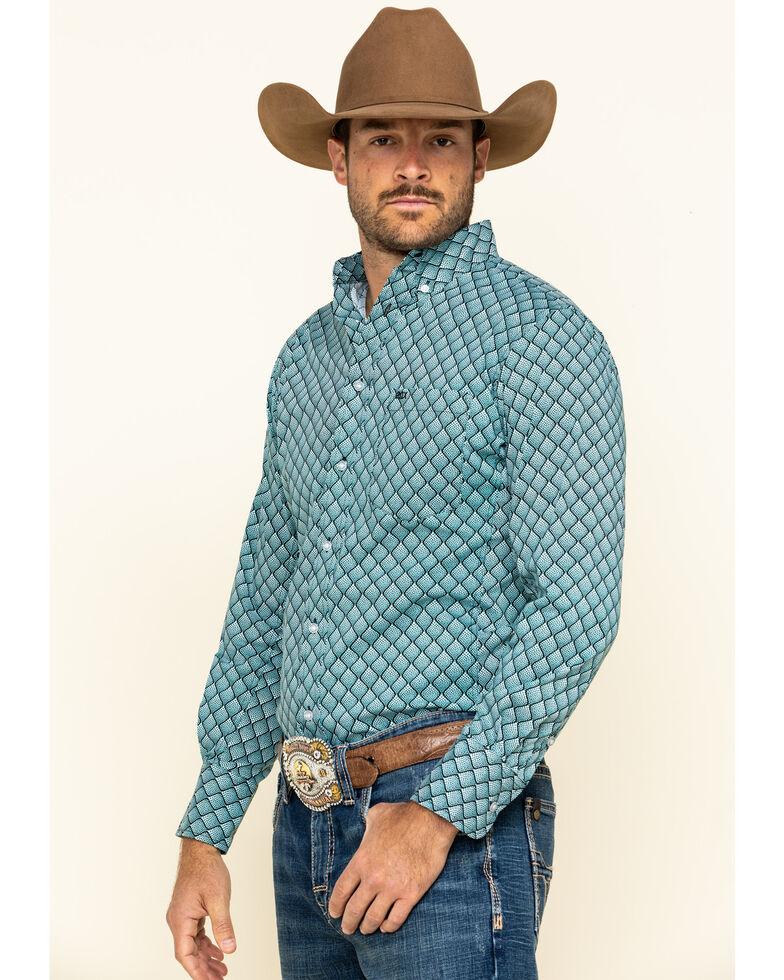 Wrangler 20X Men's Scale Print Performance Long Sleeve Western Shirt , Black/turquoise, hi-res