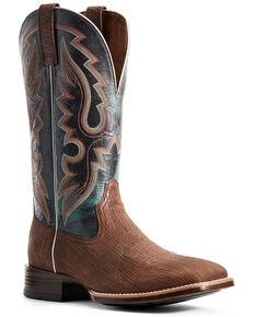 Ariat Men's Barton Ultra Dark Western Boots - Wide Square Toe, Brown, hi-res