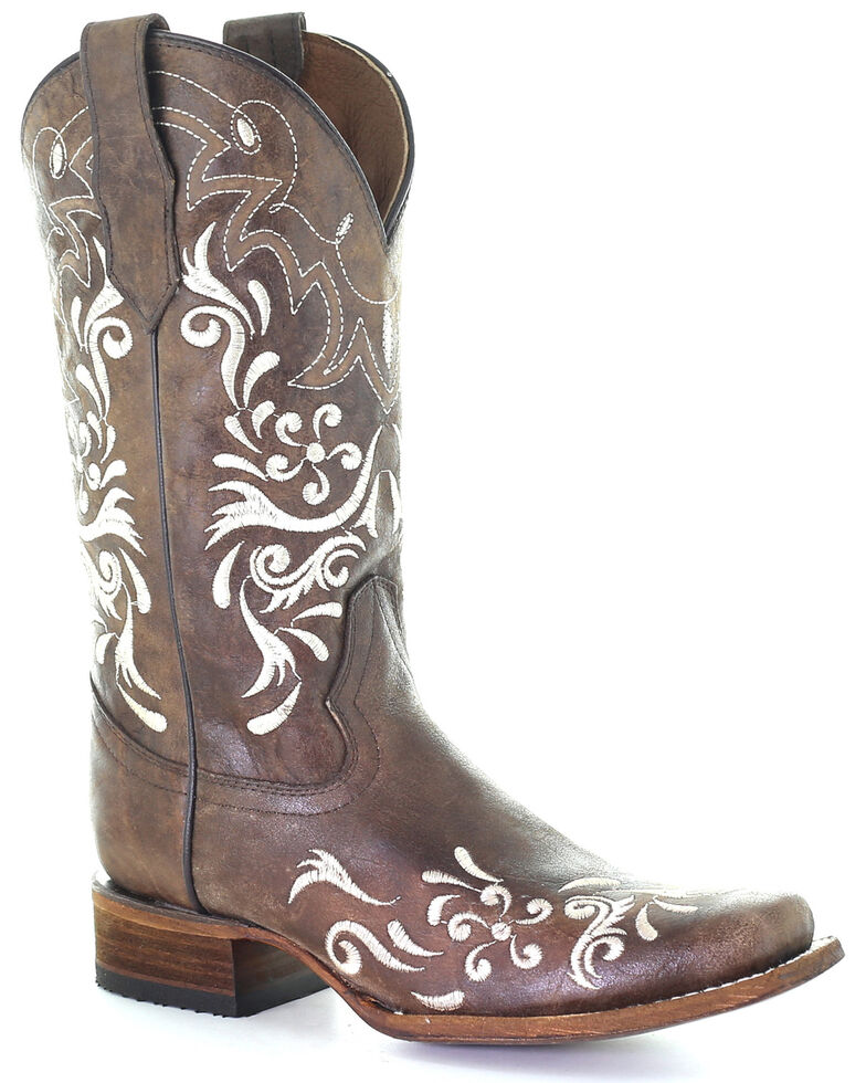 Circle G Women's White Embroidery Western Boots - Square Toe, Brown, hi-res