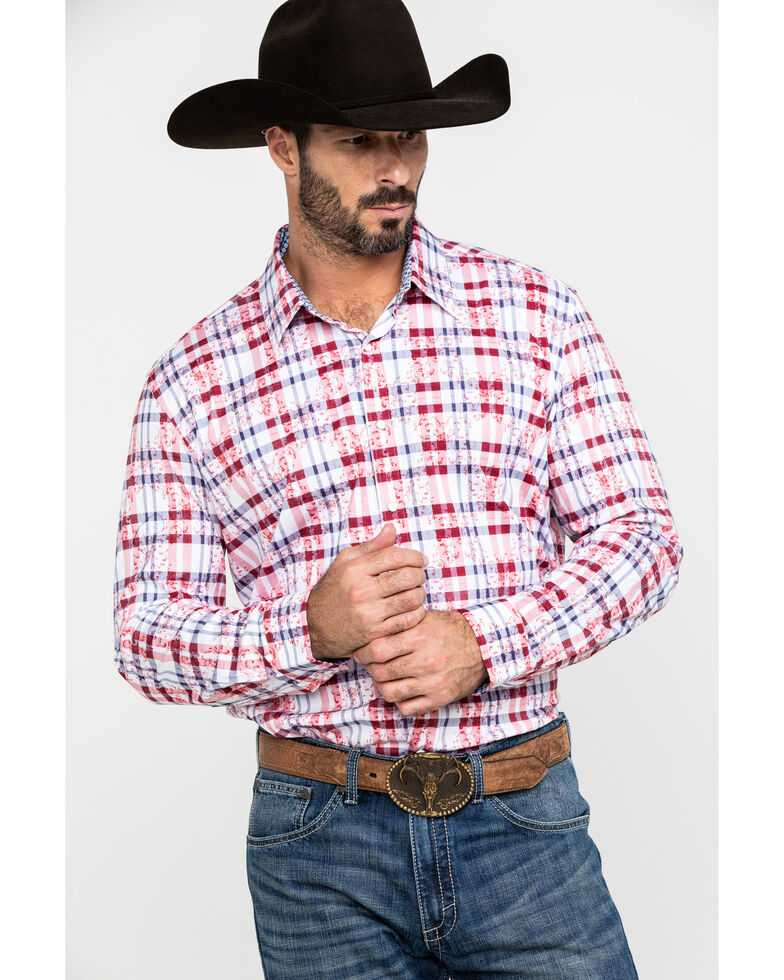 Scully Signature Soft Series Men's Multi Med Plaid Long Sleeve Western Shirt, Red, hi-res