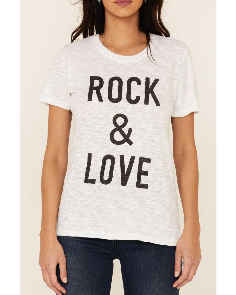 Elan Women's White Rock & Love Graphic Slub Tee , White, hi-res