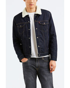 Levis Men's Juniper Sherpa Lined Trucker Denim Jacket , Dark Blue, hi-res