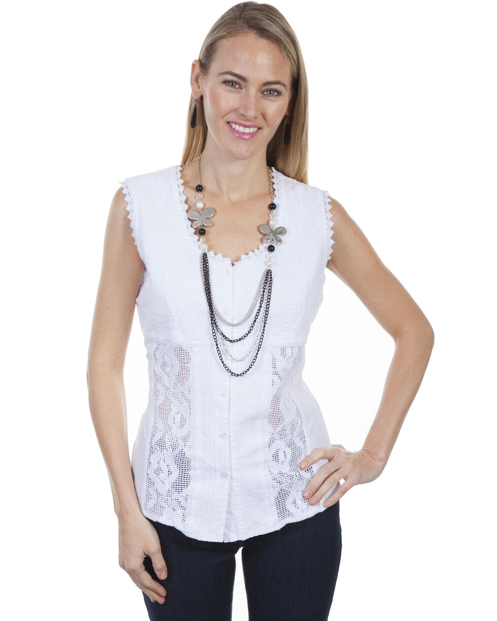 Cantina by Scully Women's White Paisley Embroidered Top, White, hi-res