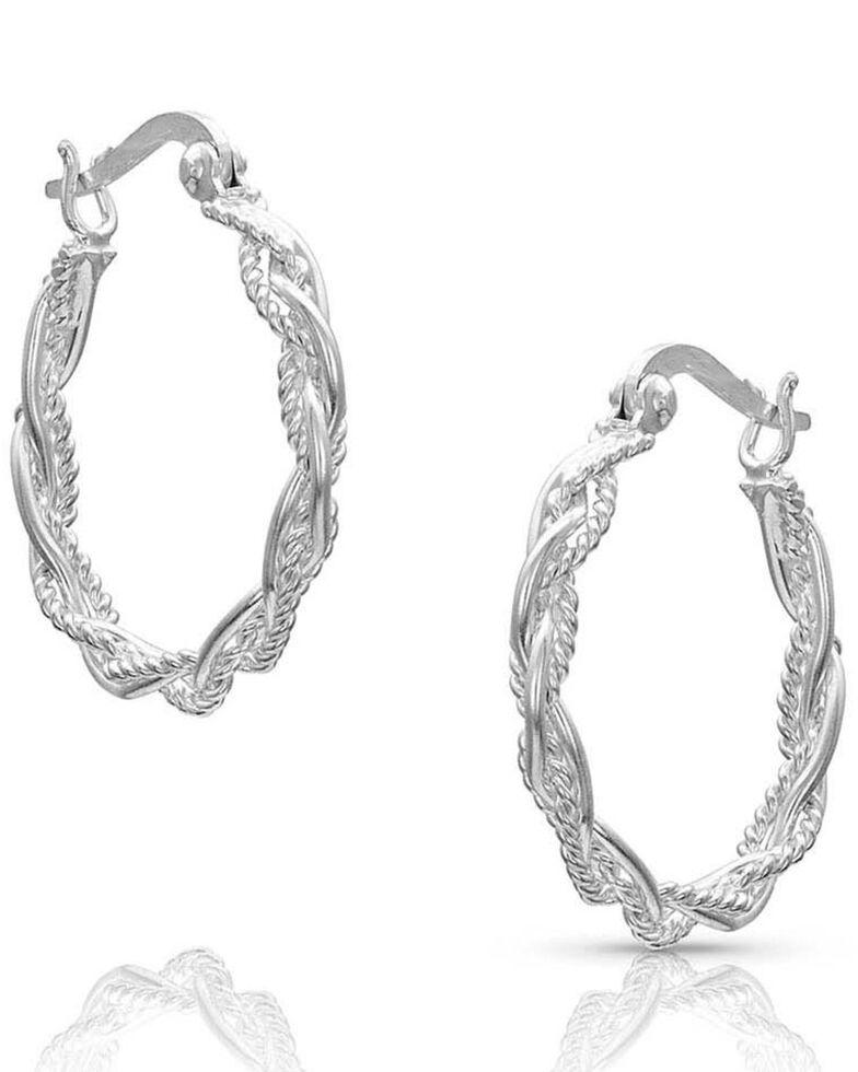 Montana Silversmiths Women's Braided Rope Hoop Earrings, Silver, hi-res