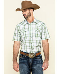 Cody James Men's Woodlands Large Plaid Short Sleeve Western Shirt , White, hi-res