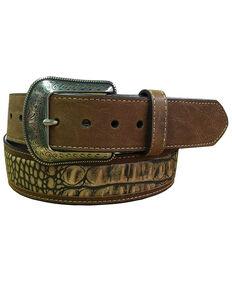 "G-Bar-D Men's Brown ""Croco"" Print Leather Belt , Brown, hi-res"