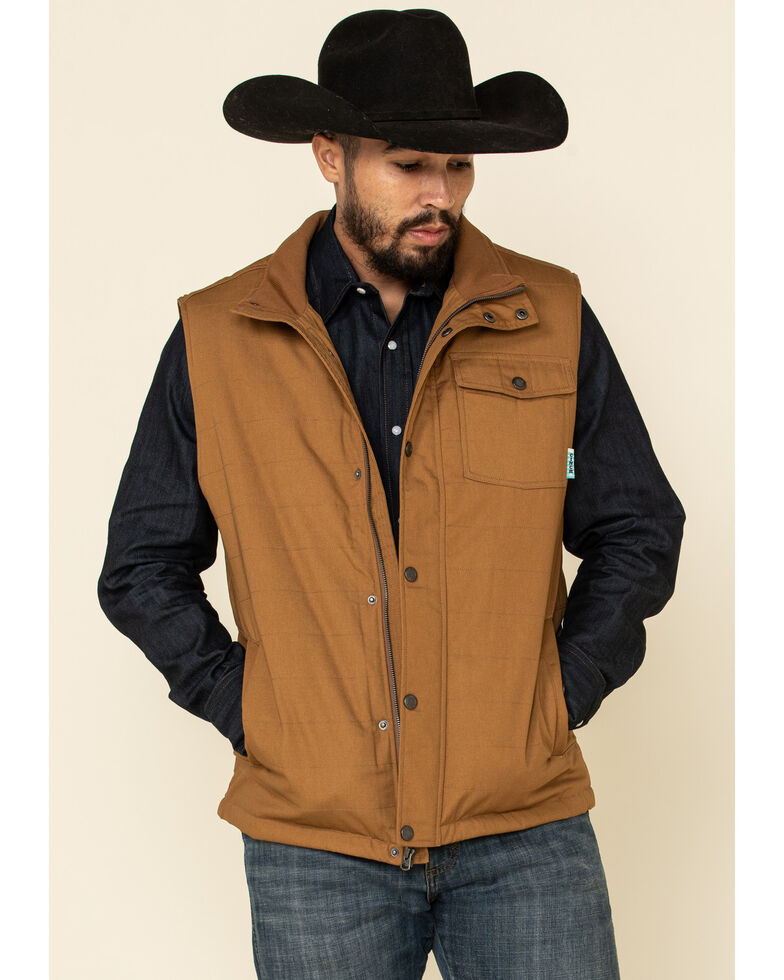 Cinch Men's Brown Canvas Coated Polyfill Puffer Vest , Brown, hi-res
