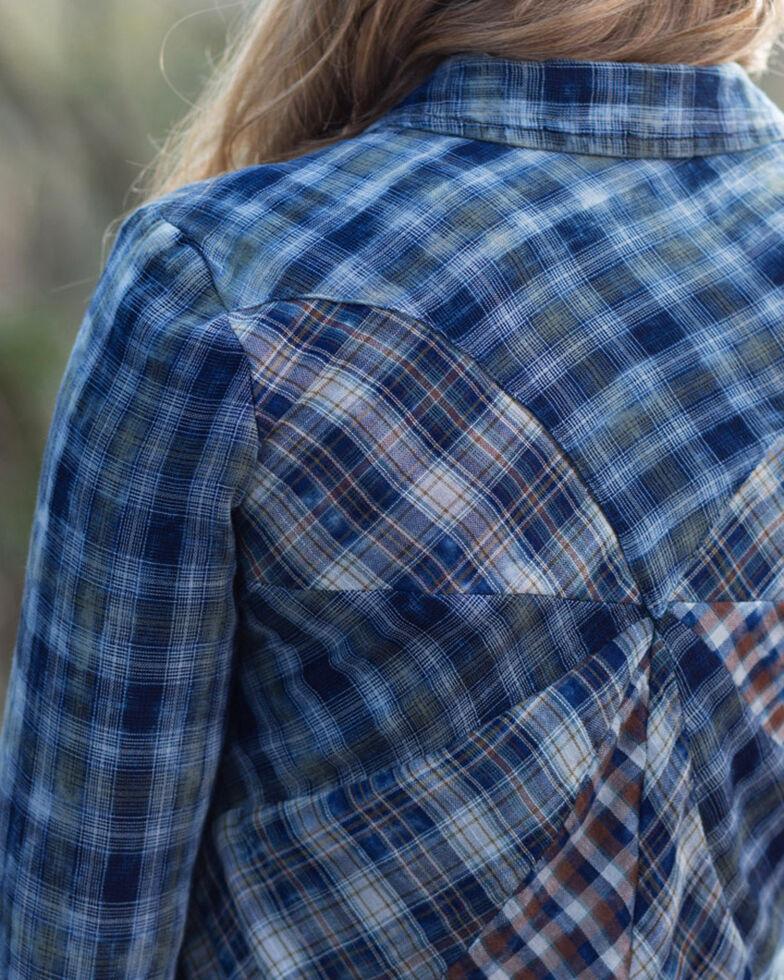 Ryan Michael Women's Pinwheel Back Plaid Shirt, Indigo, hi-res