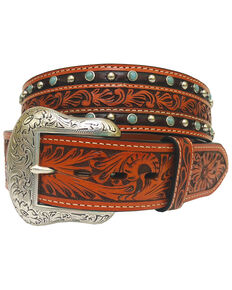 Roper Men's Floral Tooled Leather Turquoise Studded Belt, Tan, hi-res