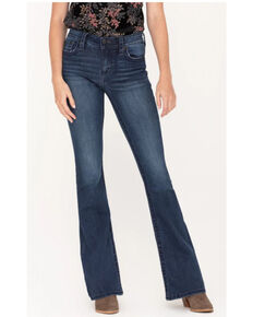 """Miss Me Women's Dark Wash 34"""" Basic X-Embroidered Flap Flare Jeans  , Blue, hi-res"""