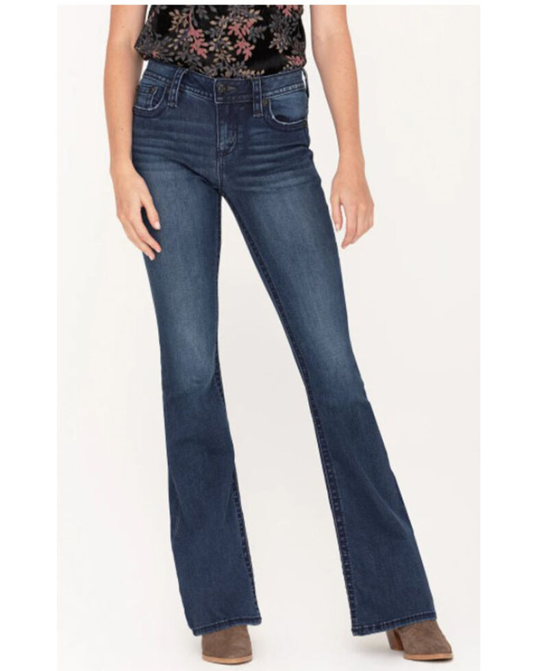 "Miss Me Women's Dark Wash 34"" Basic X-Embroidered Flap Flare Jeans  , Blue, hi-res"
