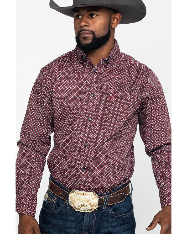 Wrangler 20X Men's Performance Red Geo Print Long Sleeve Western Shirt , Red, hi-res