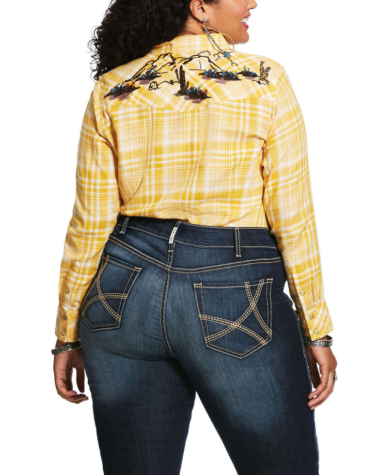 Ariat Women's Yellow Plaid R.E.A.L. Sunrise Desert Snap Long Sleeve Western Shirt - Plus, Gold, hi-res
