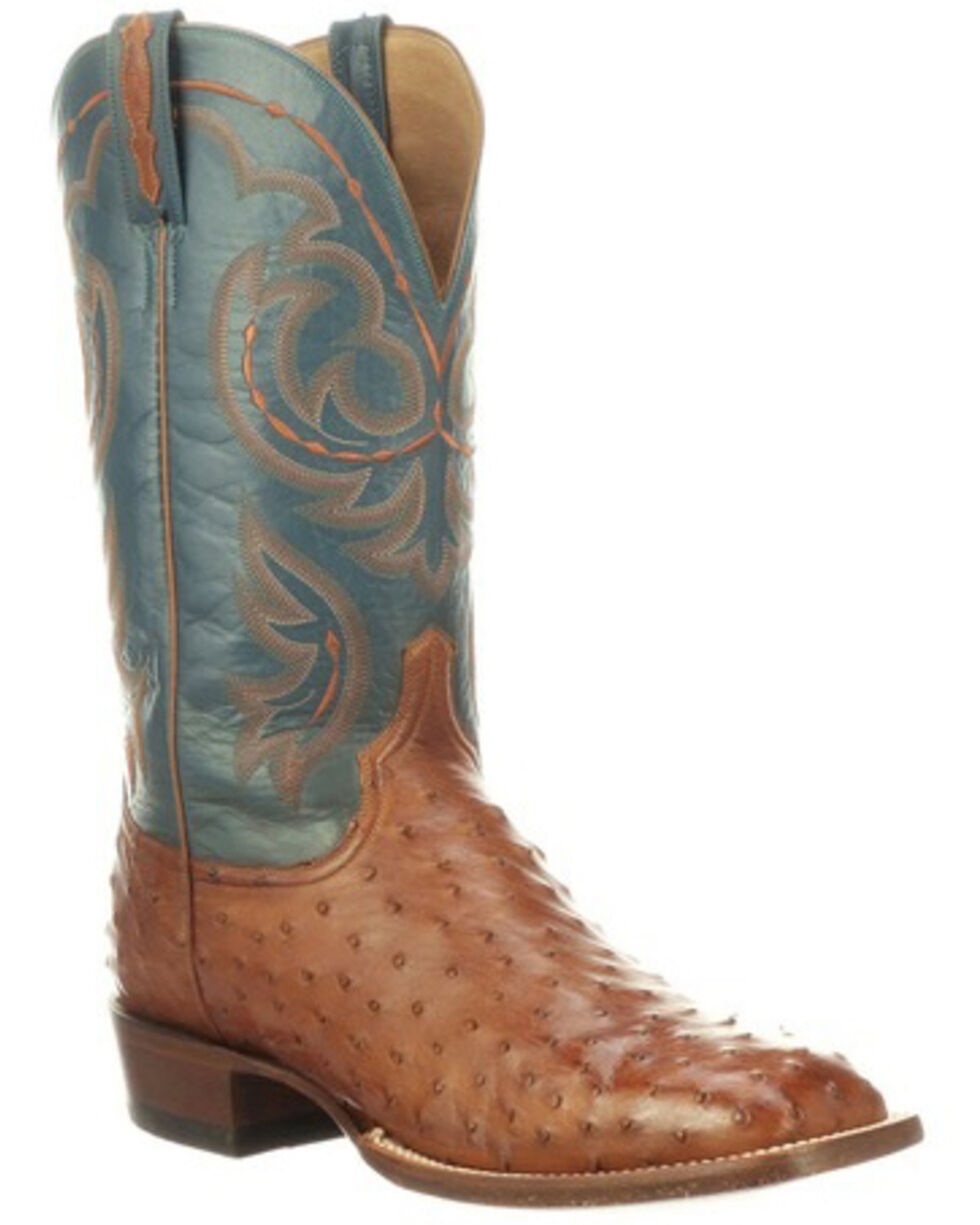 Lucchese Men's Harris Full Quill Ostrich Western Boots - Wide Square Toe, Mahogany, hi-res