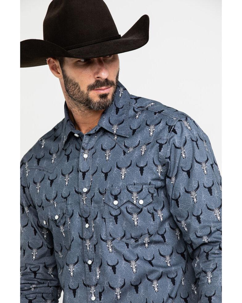 Dale Brisby Men's Bull Skull Geo Print Long Sleeve Western Shirt , Black, hi-res