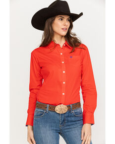 Ariat Women's Kirby Stretch Hibiscus Long Sleeve Western Shirt , Coral, hi-res