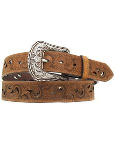 Ariat Paisley Design Cutout Leather Belt, Brown, hi-res
