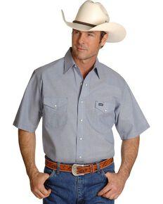 Wrangler Men's Grey Solid Chambray Short Sleeve Work Shirt , Chambray, hi-res