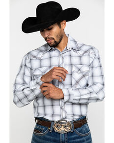 Rough Stock By Panhandle Men's Haverhill Ombre Plaid Long Sleeve Western Shirt , White, hi-res