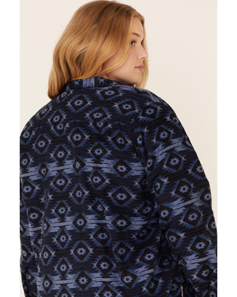 Ely Walker Women's Navy Plaid Sherpa Lined Long Sleeve Western Flannel Shirt - Plus, Navy, hi-res