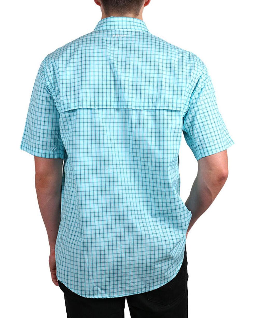 Ariat Men's Aqua Norrington Hybrid Short Sleeve Plaid Shirt , Aqua, hi-res