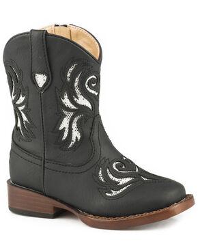 Roper Toddler Girls' Black Glitter Breeze Cowgirl Boots - Square Toe, Black, hi-res