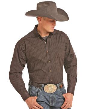 Tuf Cooper Men's Geo Print Long Sleeve Shirt , Brown, hi-res