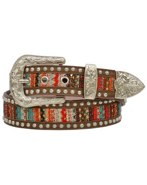Angel Ranch Women's Gold Sequin Serape Inlay Studded Belt, Brown, hi-res