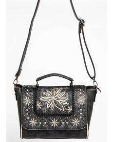 Shyanne Women's Embroidered Floral Satchel, Black, hi-res