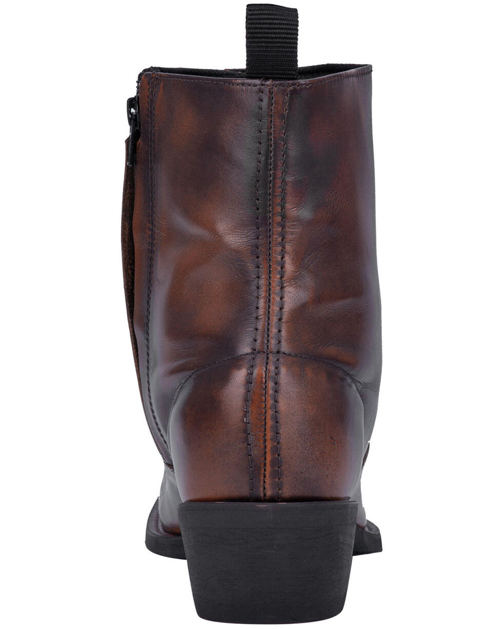 Laredo Men's Antique Tan Side Zipper Western Boots - Round Toe, Tan, hi-res