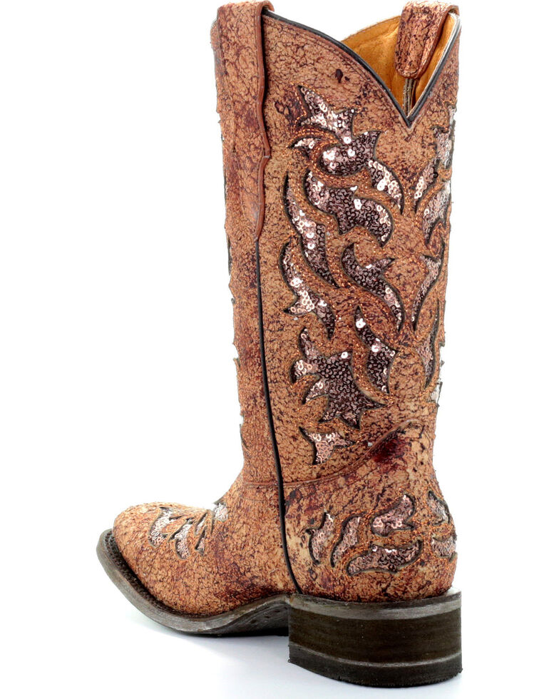 Corral Girls' Rustic Sparkling Sequin Inlay Cowgirl Boots - Square Toe, Rust Copper, hi-res