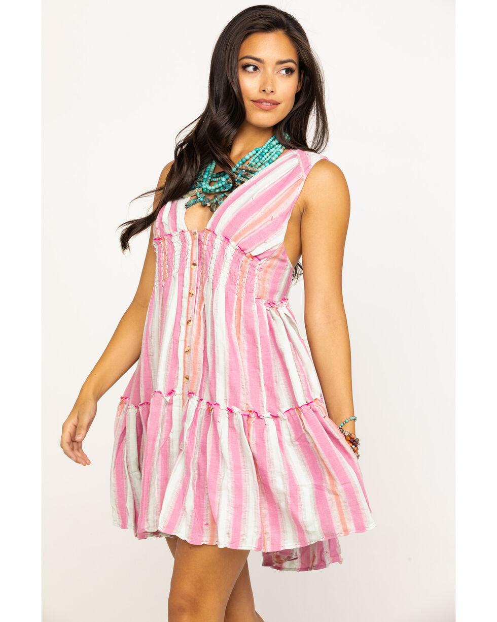 Free People Women's Do It Again Stripe Button Down Mini Dress, Pink, hi-res