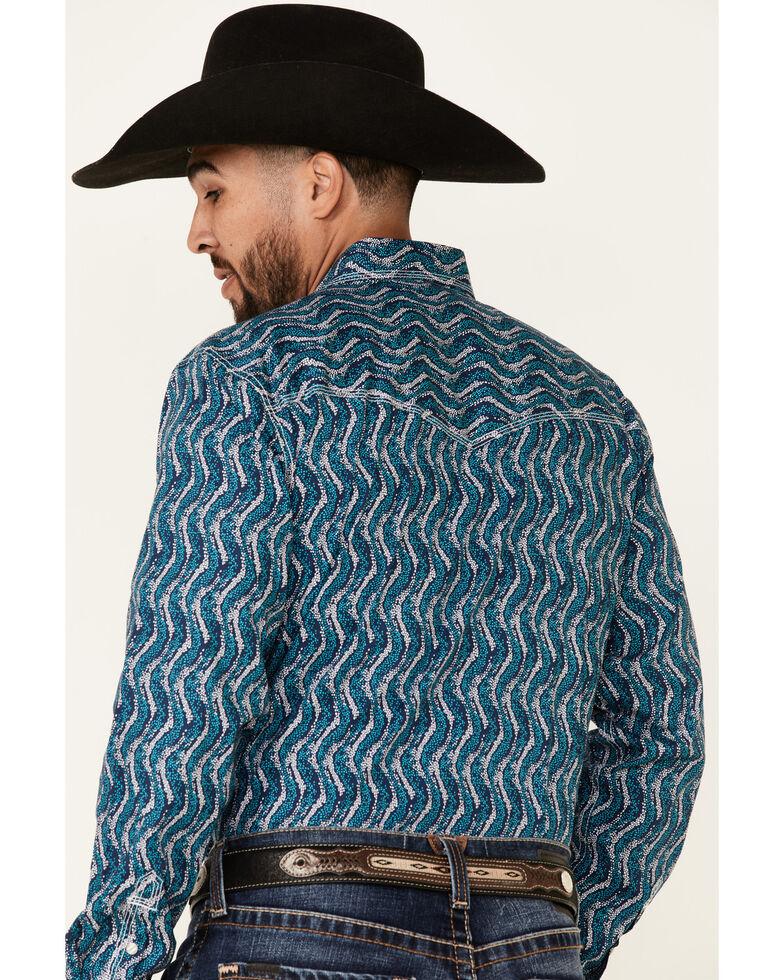 Wrangler 20X Men's Stippled Geo Print Long Sleeve Snap Western Shirt , Blue, hi-res