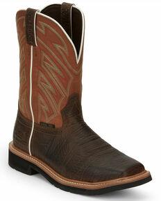 Justin Men's Electrician Western Work Boots - Steel Toe, Chestnut, hi-res